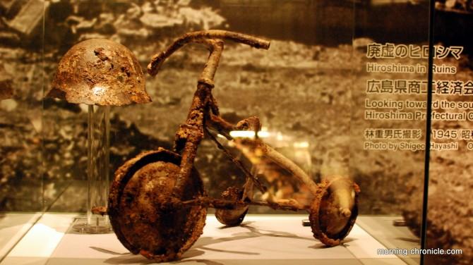 Vélo calciné par le bombardement