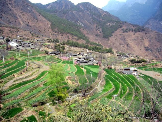 Village, rizière en terrasse