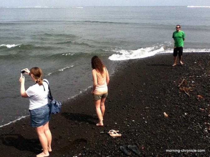 Sur la plage avec les voyageurs Gallois